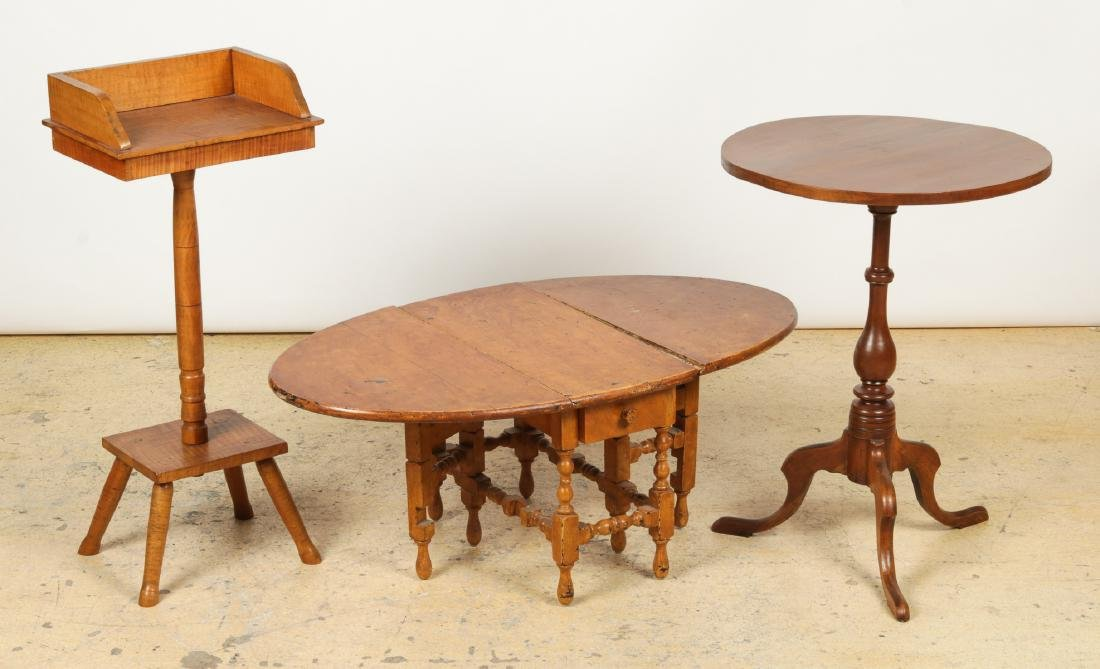Antique Dropleaf Table, Reading Stand & Candle Stand