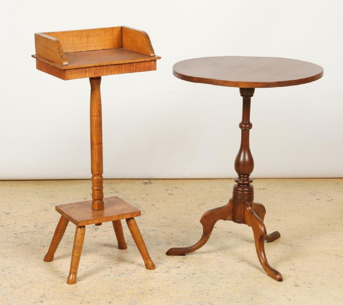 Antique Dropleaf Table, Reading Stand & Candle Stand - 2