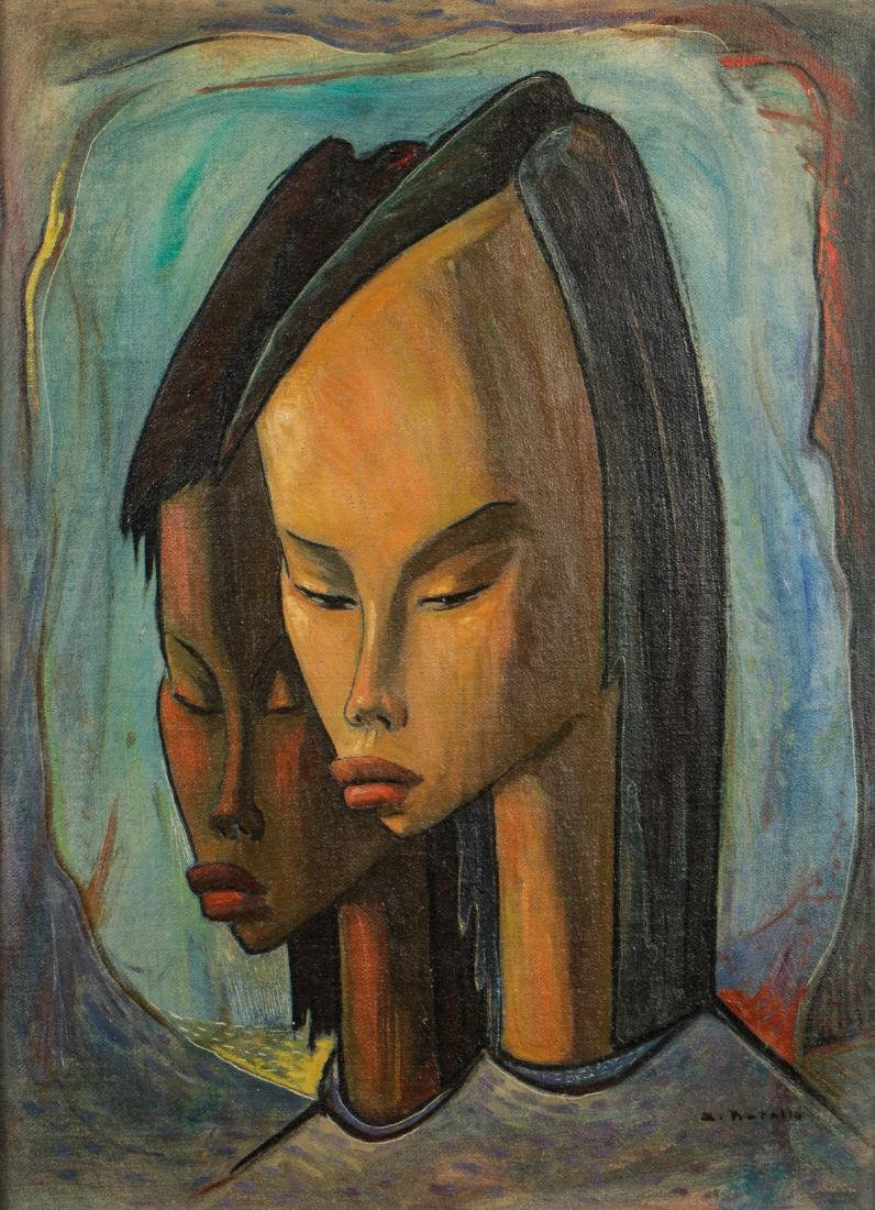 "Angel Botello (1913-1986) ""Two Girls"""