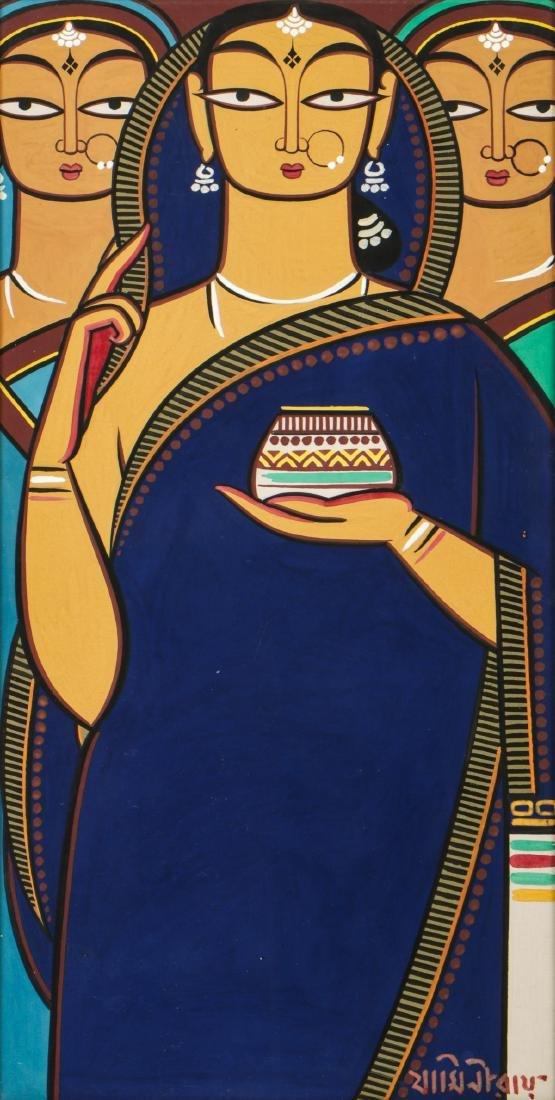 Jamini Roy (1887-1972) Painting of Three Women