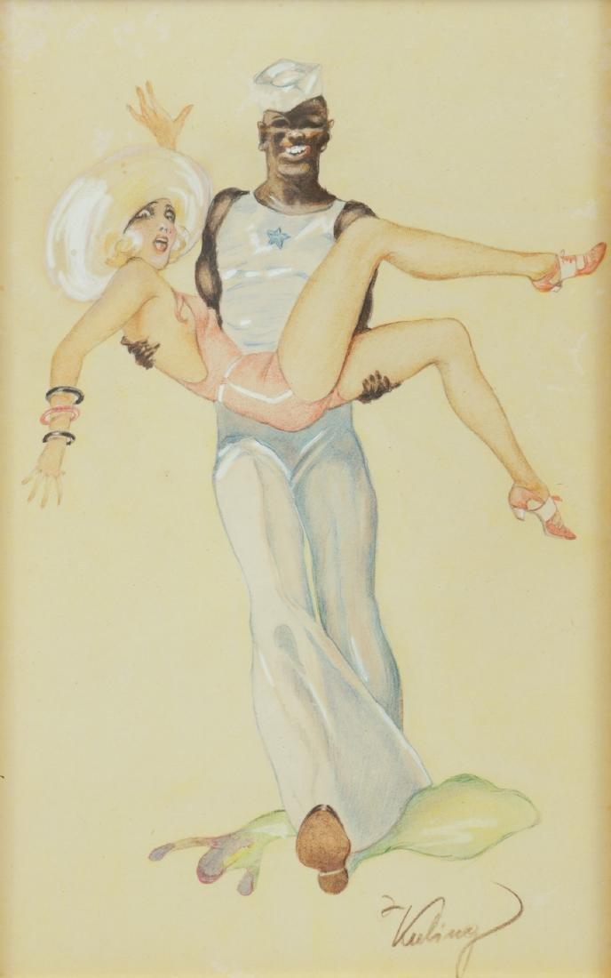 American Artist Watercolor Illustration on Paper
