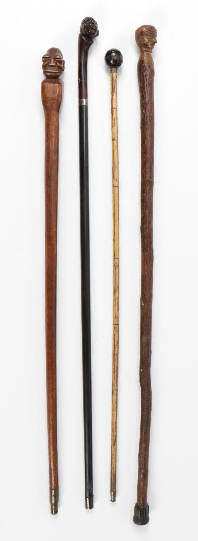 4 African American Hand Carved Folk Art Canes - 2