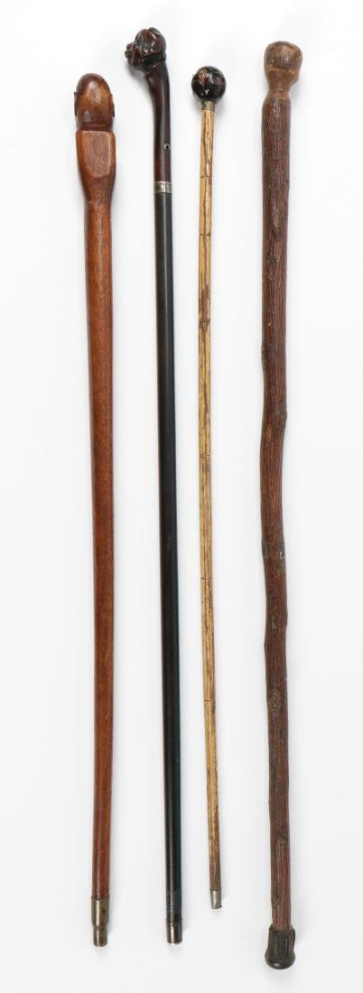 4 African American Hand Carved Folk Art Canes - 3