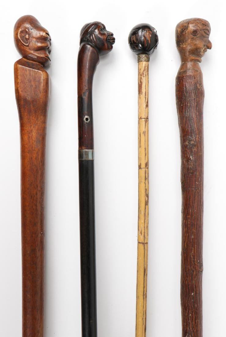 4 African American Hand Carved Folk Art Canes - 4