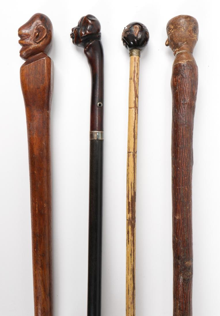 4 African American Hand Carved Folk Art Canes - 6