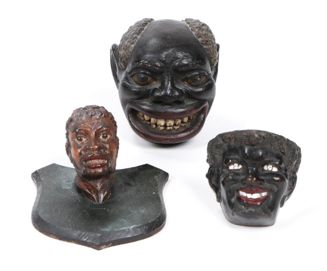 3 Black Americana Folk Art Bust Figures