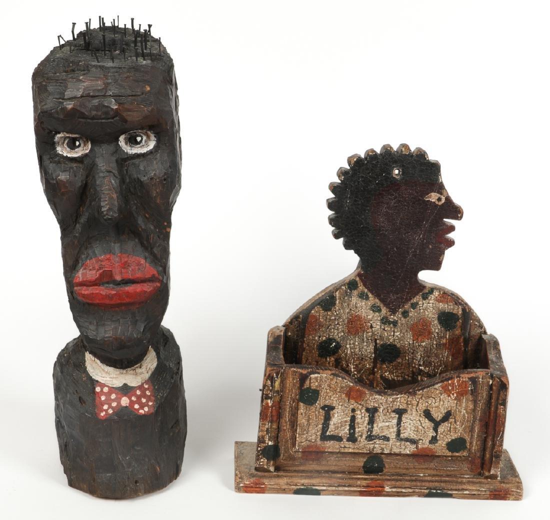 2 Pc Black Americana Folk Art Lot