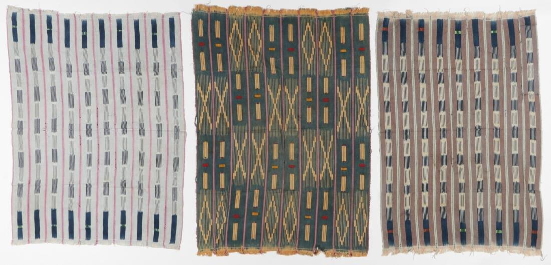 3 Vintage West African Indigo Ikat Cloths
