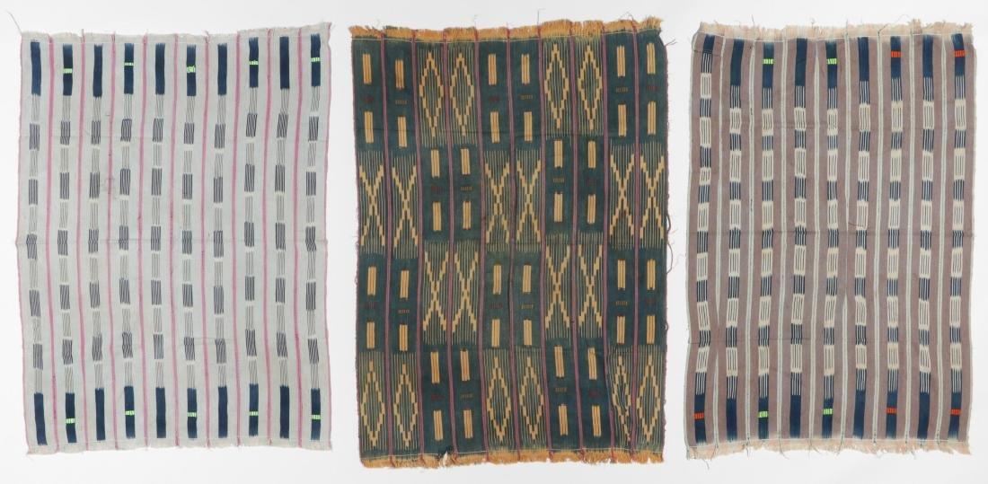 3 Vintage West African Indigo Ikat Cloths - 7