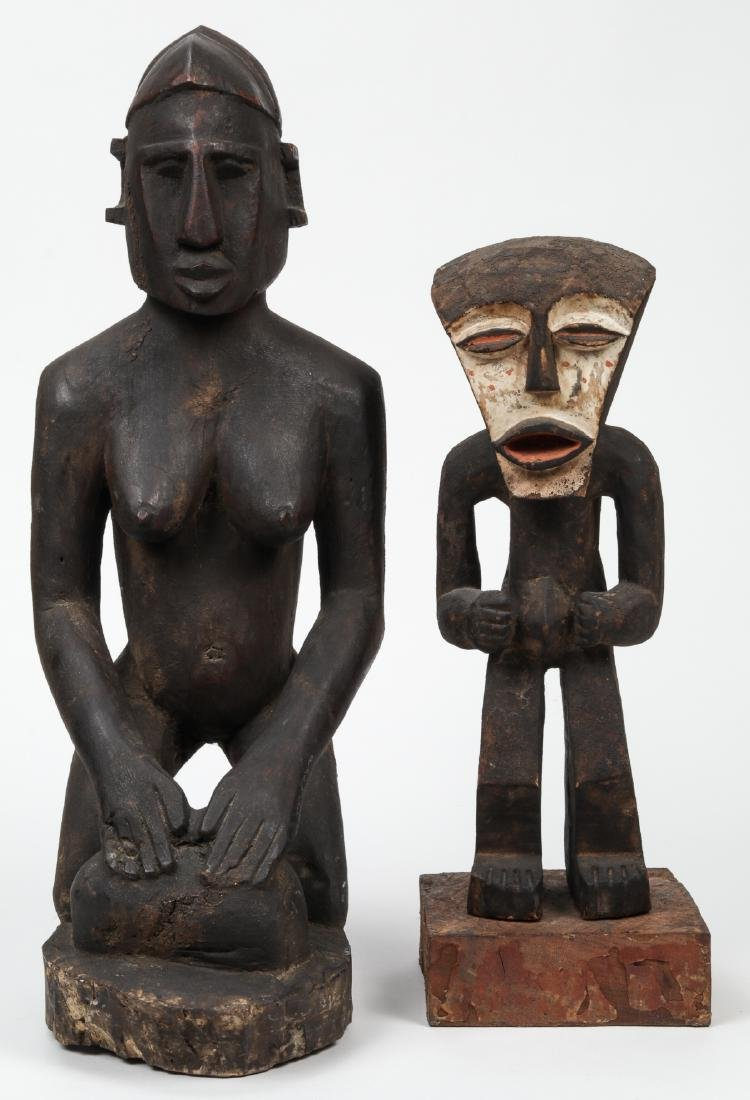 2 African Carved Wood Tribal Sculptures