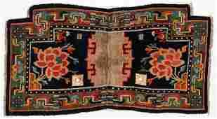 Antique Tibetan Saddle Rug: 3'7'' x 1'11''