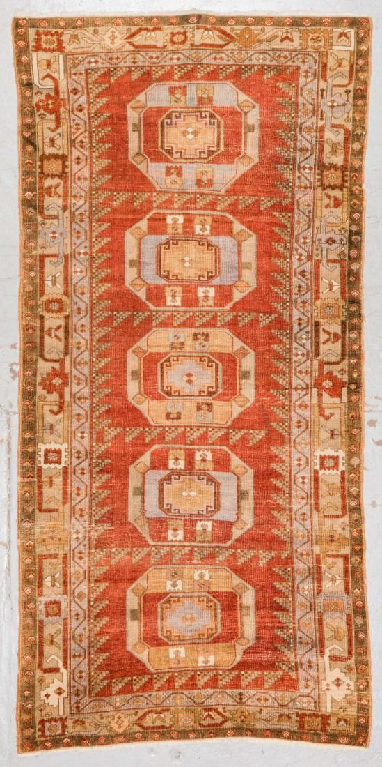 Antique Turkish Village Rug: 4'6'' x 9'5''