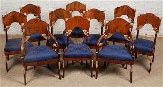 10 Russian Neoclassic Mahogany Chairs, Including 2
