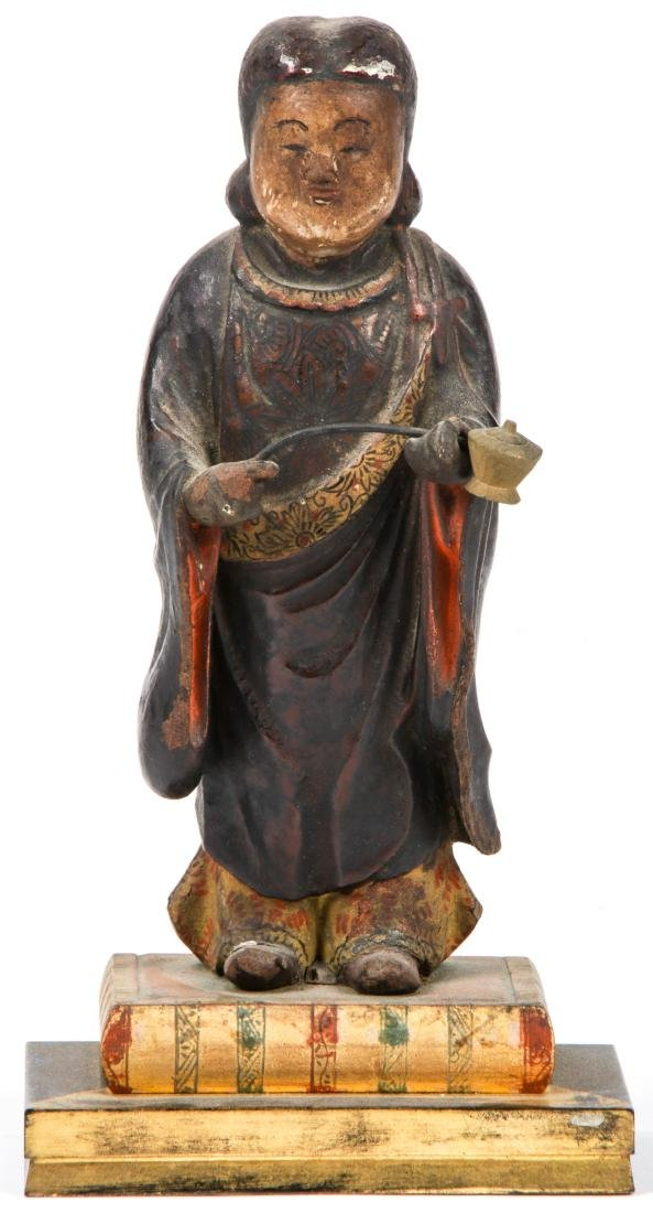 19th c. Japanese Carved and Painted Wood Figure