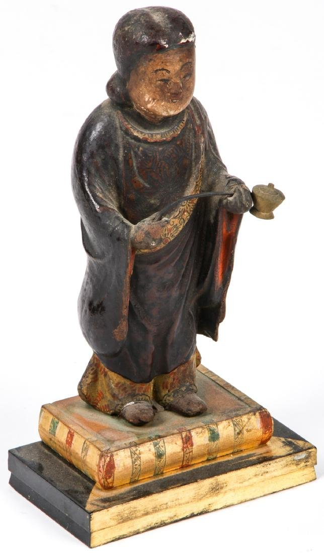 19th c. Japanese Carved and Painted Wood Figure - 2