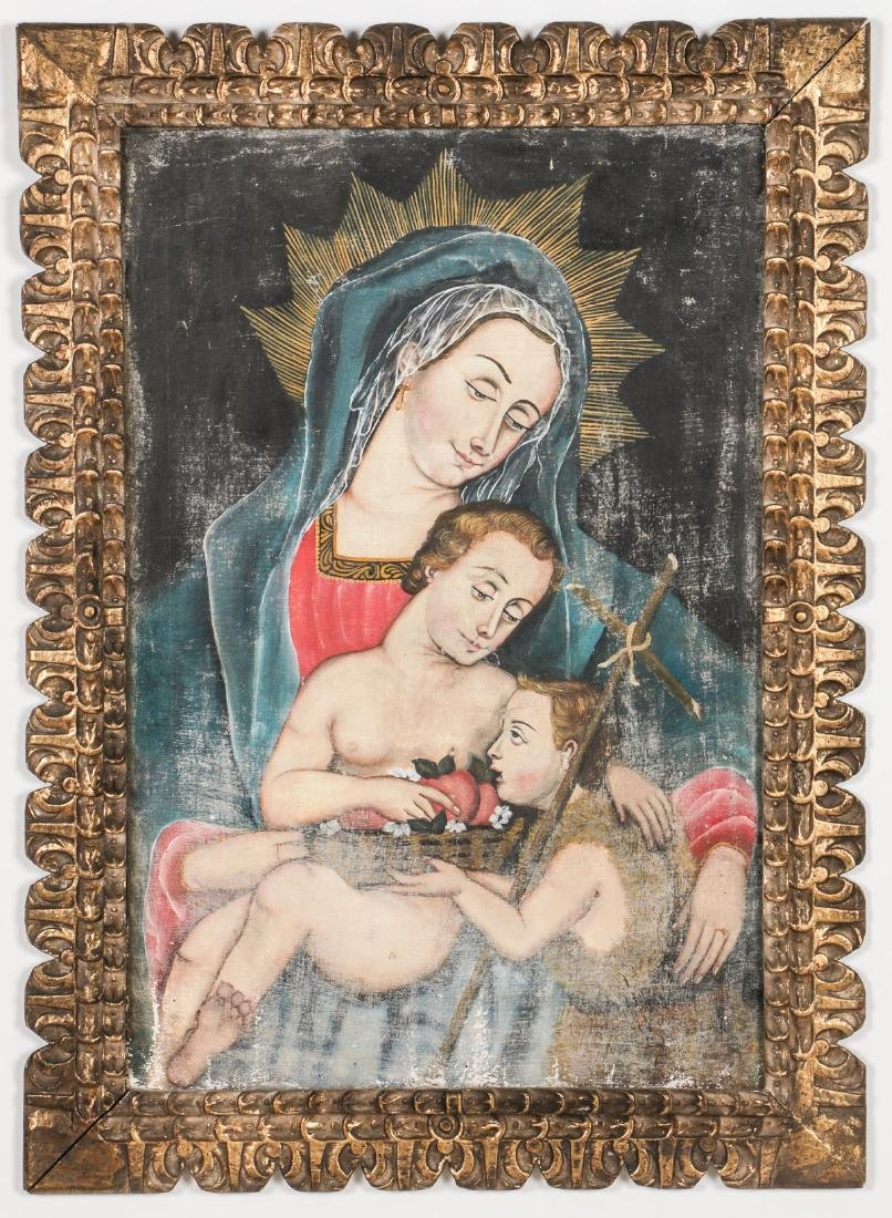 Cuzco School Painting: Madonna w. Child & St. John