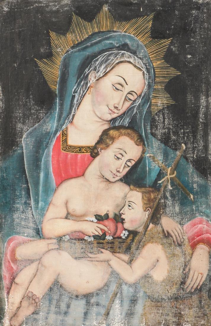Cuzco School Painting: Madonna w. Child & St. John - 2