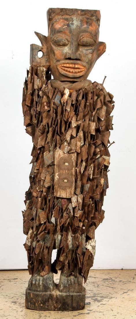 Massive African Congo Nail Fetish Statue