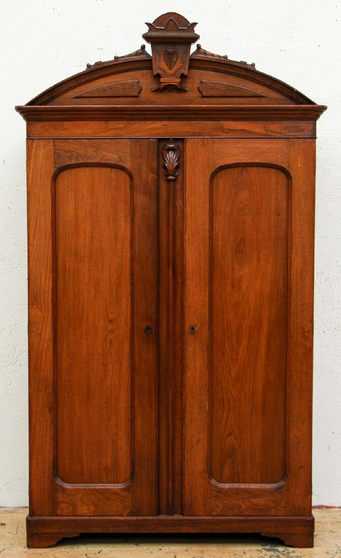 Antique Victorian Carved Wood Armoire