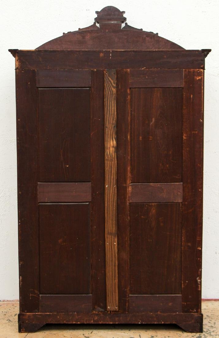 Antique Victorian Carved Wood Armoire - 5
