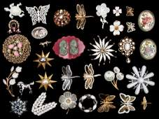 Large Group of Costume Jewelry Pins
