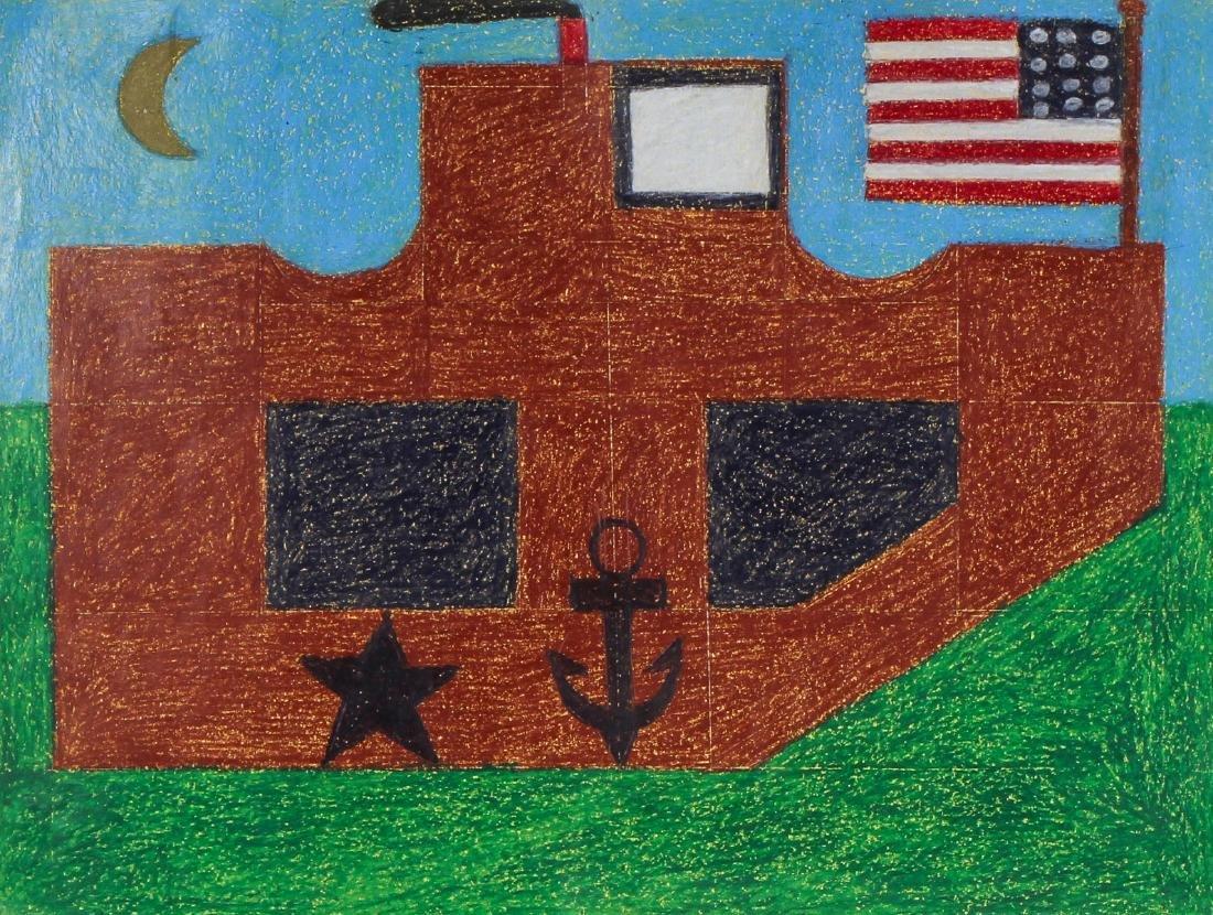"Eddie Arning (1898-1993) ""Ship with Flag on Green Sea"","