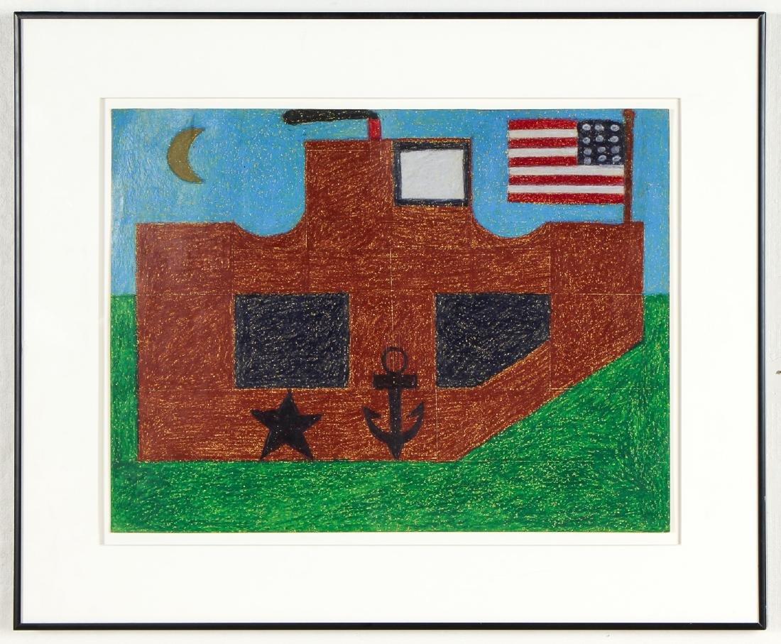 "Eddie Arning (1898-1993) ""Ship with Flag on Green Sea"", - 2"