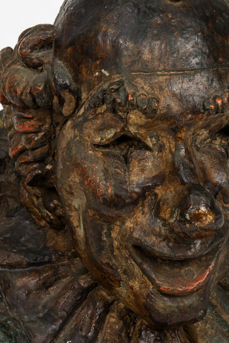 Old Painted Plaster Clown Bust Sculpture - 2