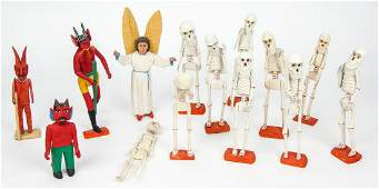 Group of Mexican Carved Wood Folk Art Figures