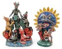 2 Mexican Ocumicho Clay Folk Art Diablo Sculptures