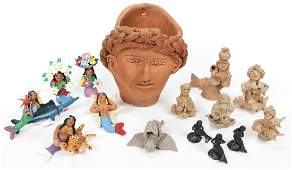 A Collection of Mexican Folk Art Clay Sculptures