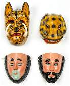4 Vintage Mexican 20th c Festival Masks
