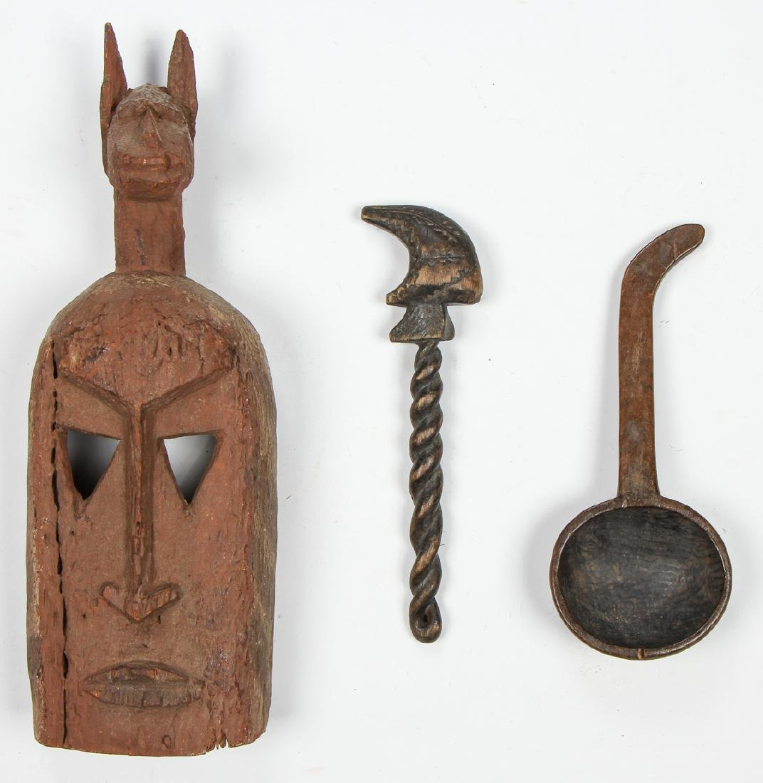 Group of 3 African Artifacts: with old Dogon Mask