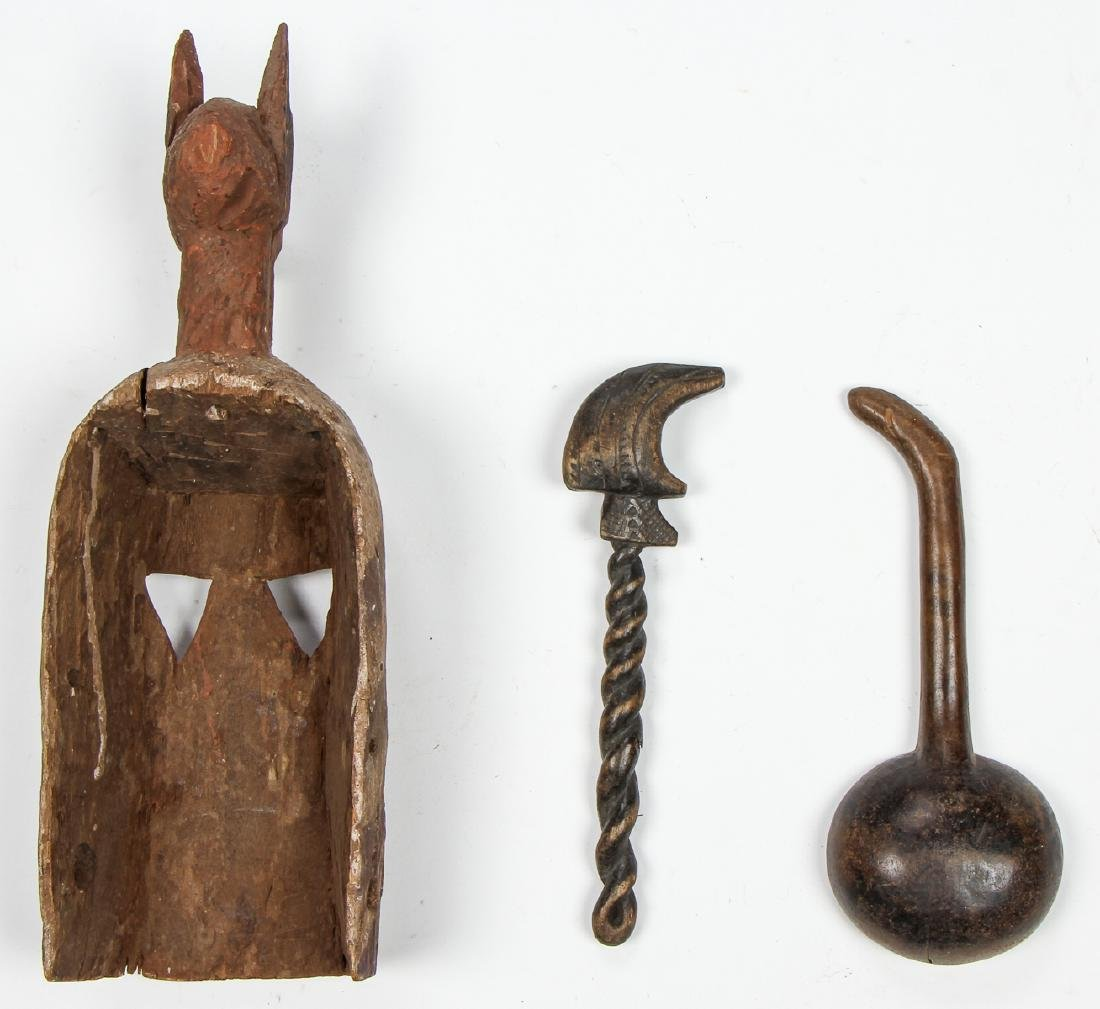 Group of 3 African Artifacts: with old Dogon Mask - 5