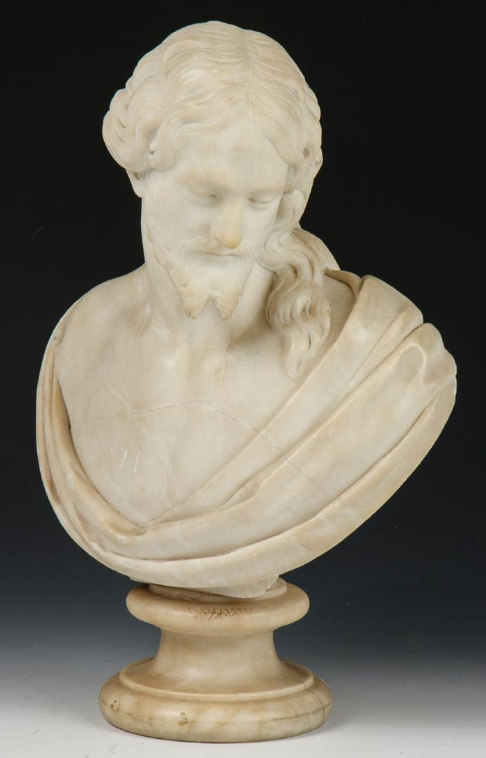 Carved Marble Bust of a Man, late 19th/Early 20th C