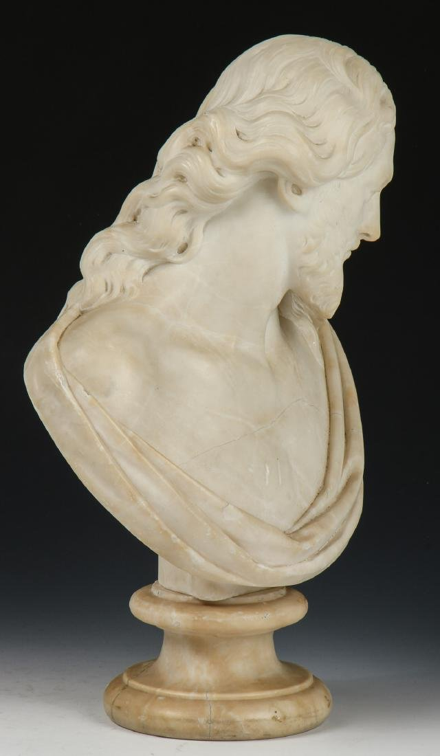 Carved Marble Bust of a Man, late 19th/Early 20th C - 3