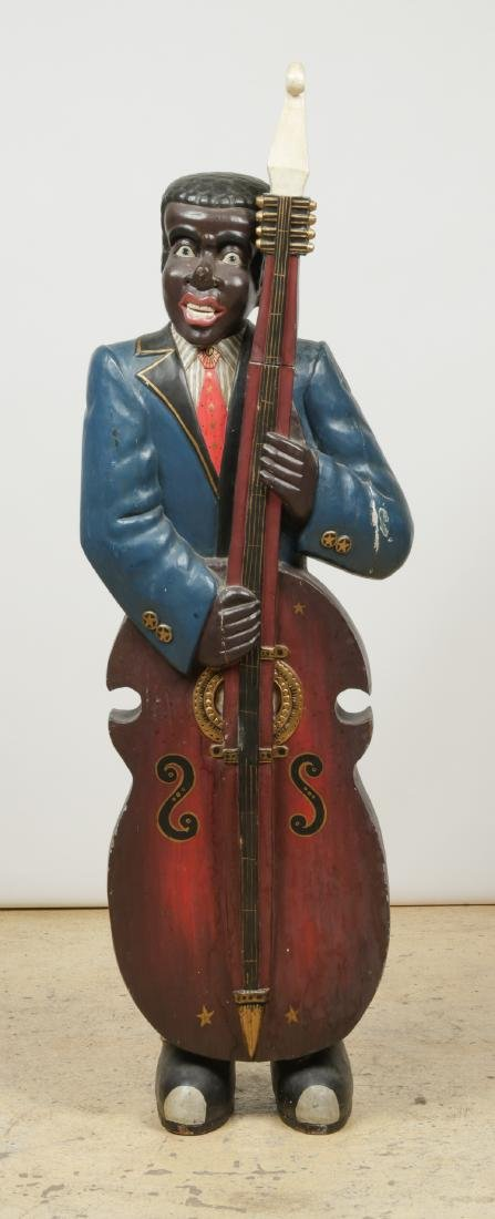 Vintage Carved and Painted Wood Sculpture of a Blues