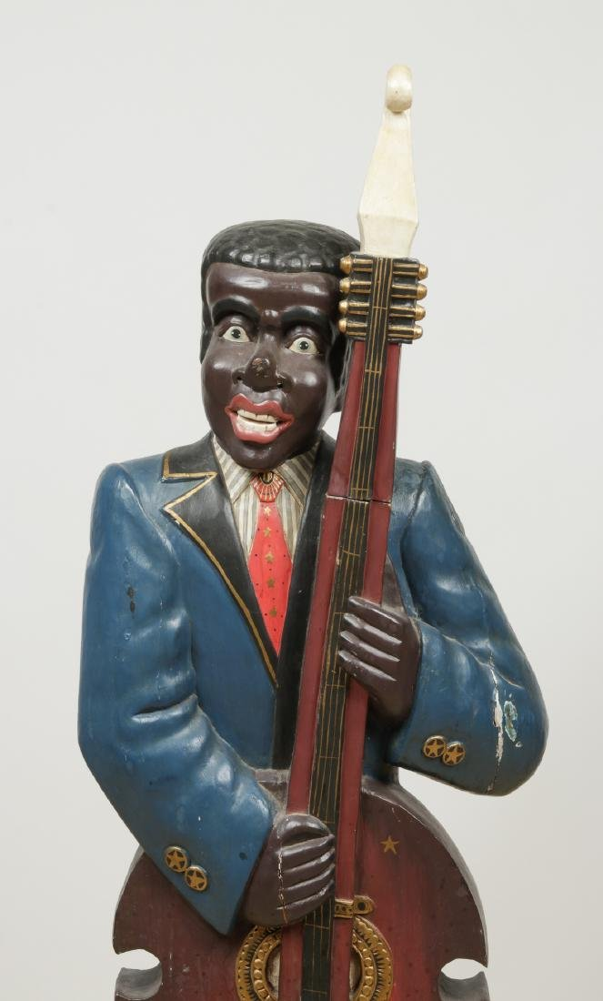 Vintage Carved and Painted Wood Sculpture of a Blues - 3