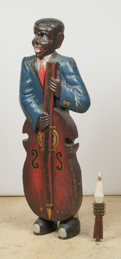 Vintage Carved and Painted Wood Sculpture of a Blues - 9