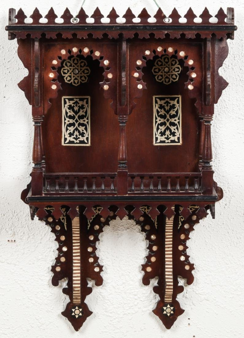 Syrian Wood and Inlay Wall Cabinet