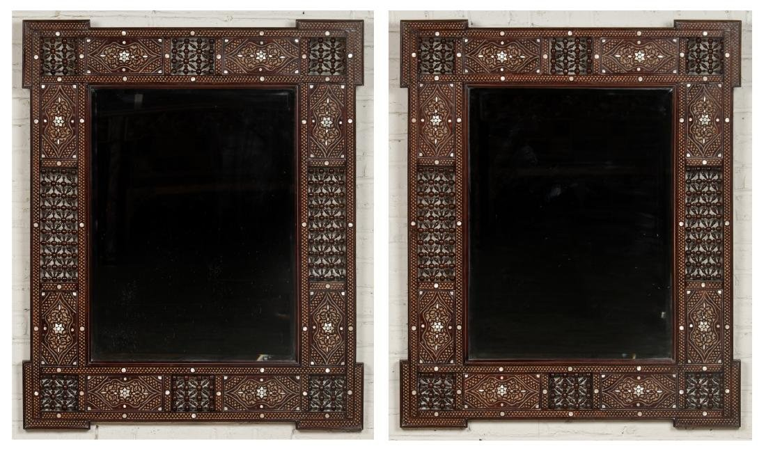 Pair of Large Syrian Wood and Inlay Mirrors