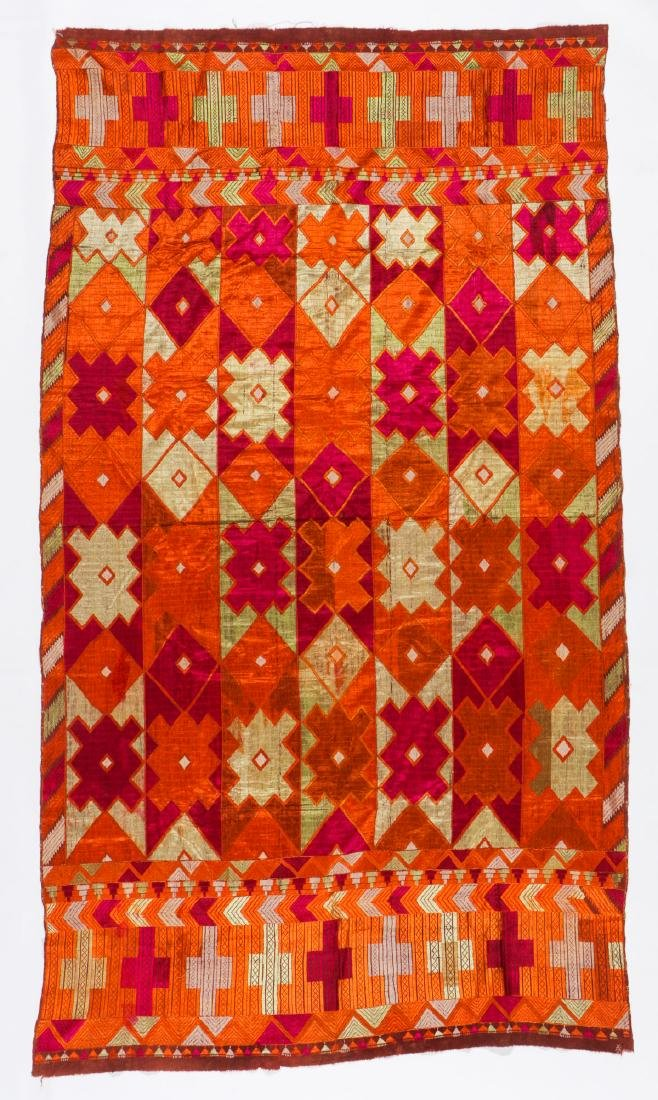 Indian Phulkari Silk Embroidered Textile