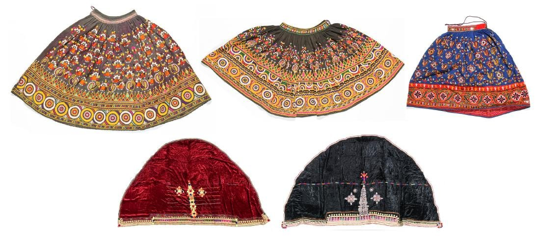5 Old Kutchi Embroidered Folk Skirts and Wedding Veils