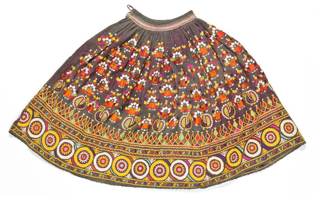 5 Old Kutchi Embroidered Folk Skirts and Wedding Veils - 2