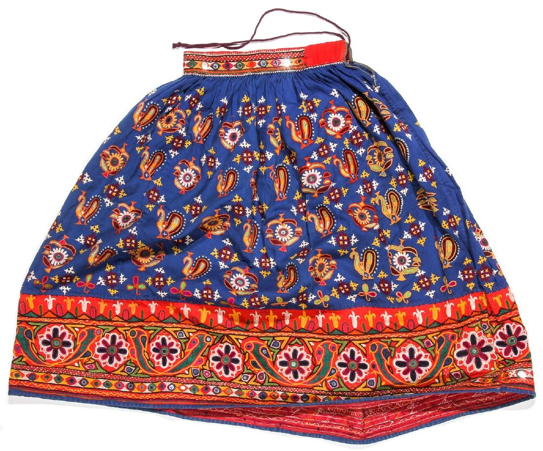 5 Old Kutchi Embroidered Folk Skirts and Wedding Veils - 4