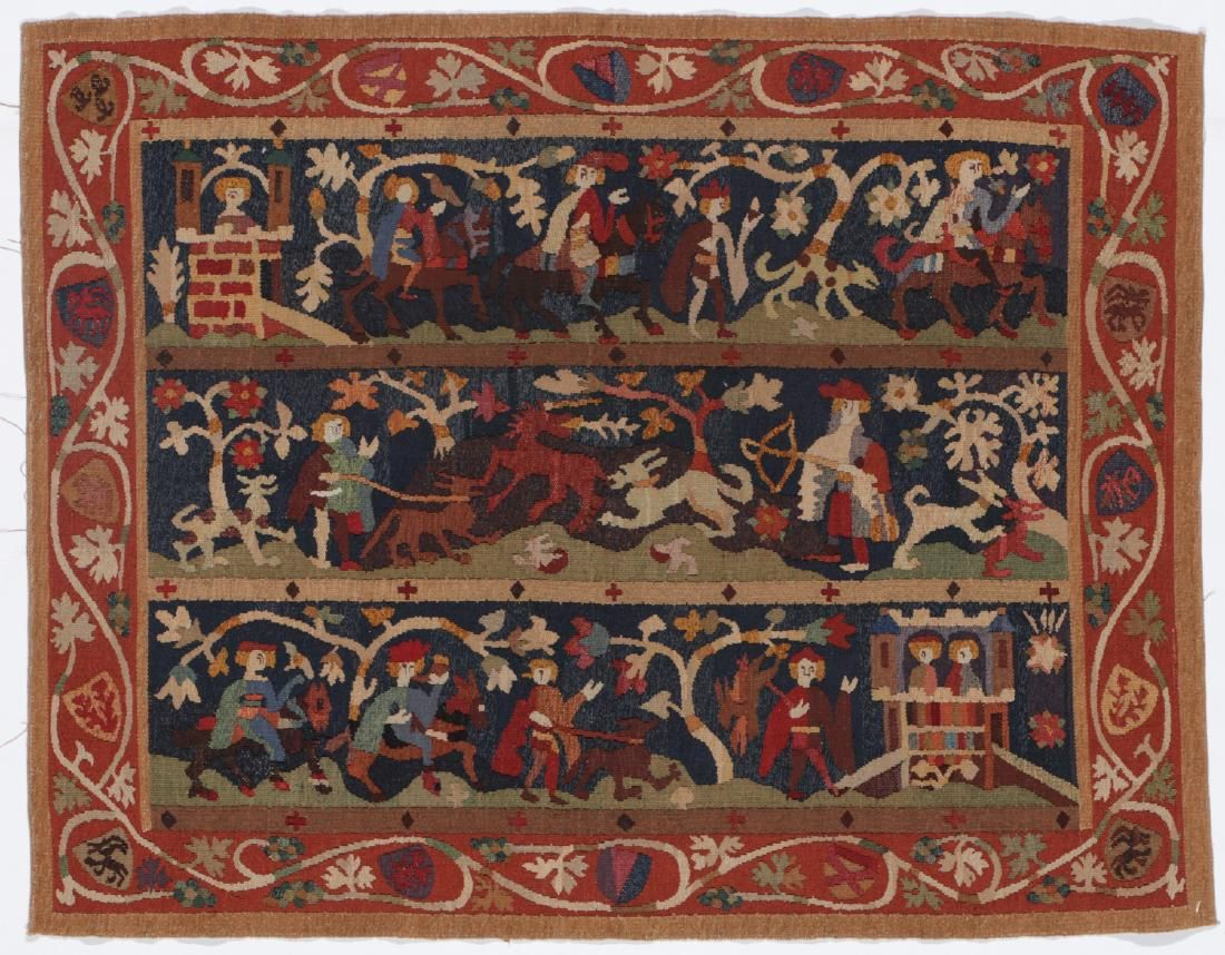 Antique Swedish Silk & Wool Pictorial Tapestry, 19th C.