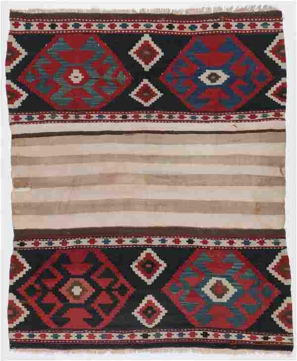 Antique Caucasian Kilim, Caucasus: 3'9'' x 4'6''