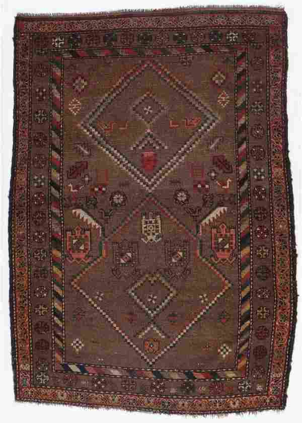 Antique West Persian Kurd Rug, Persia: 4'1'' x 5'9''