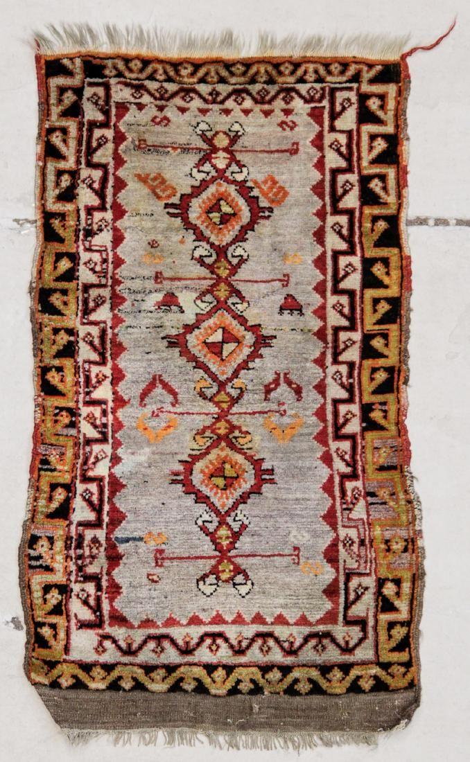 "Antique Turkish Yastik Rug: 1'9"" x 2'11"" (53 x 89 cm)"