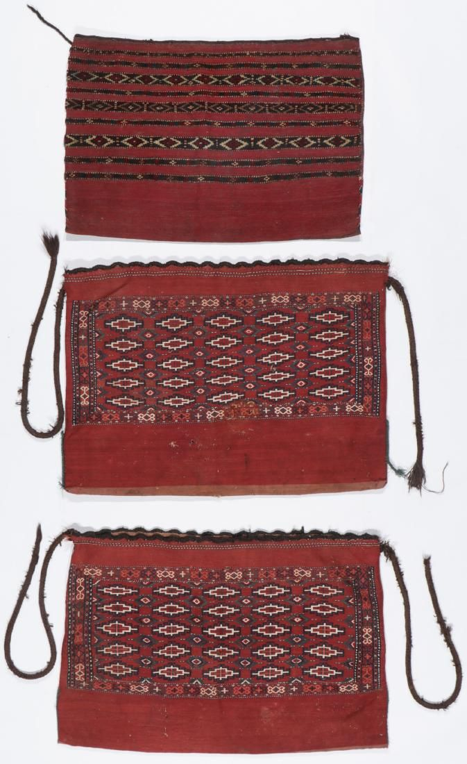 3 Antique Central Asian Yomud Chuvals
